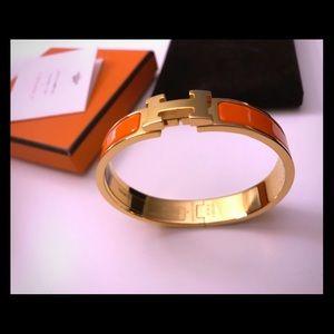 Hermes Clic H Bracelet, Orange